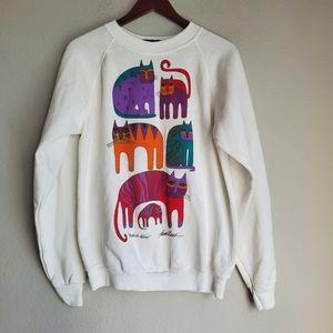 Vintage 80s Laurel Burch Cat Sweatshirt size L NWT